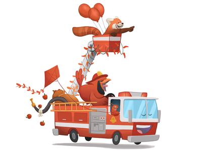 RedRedRedRedRed ride apples balloons red panda kite lobster cardinal fire engine childrens illustration illustration red