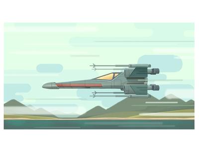 X Wing flying blur motion xwing star wars illustration