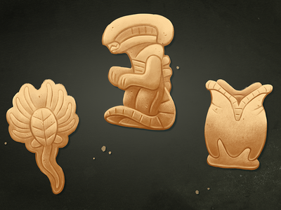 Eat them before they eat you... animal crackers facehugger alien illustration