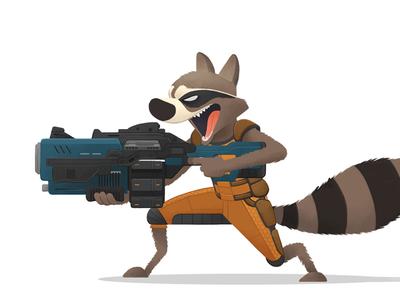 Rocket! gun raccoon rocket marvel character design illustration