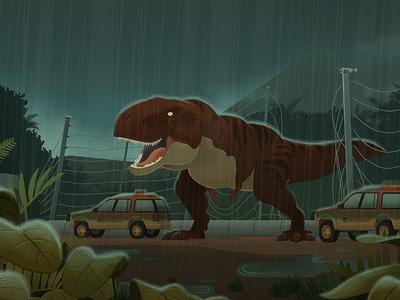 Rex Breakout roar jurassic park trex dinosaur illustration