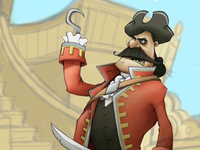 Captain Hook on the Jolly Roger captain hook peter pan childrens book illustration pencil digital jolly roger