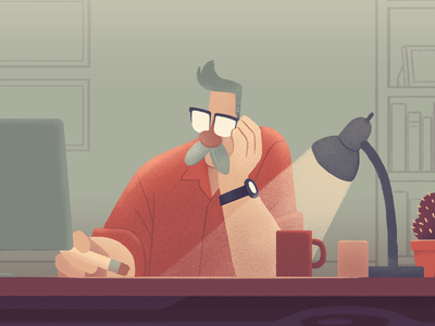 Thinkin' mustache thinking desk illustration