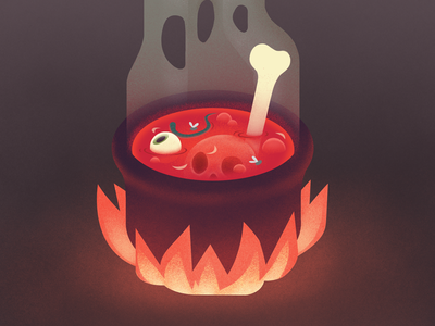 Bone Broth spooky halloween soup cauldron digital eyeball bones illustration