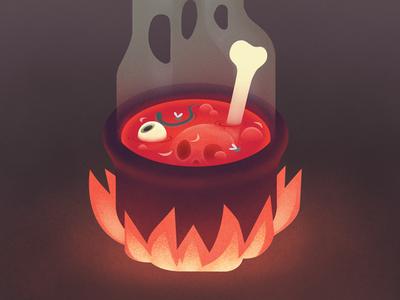 Bone Broth spooky halloween soup cauldron digital eyeball bones illustration