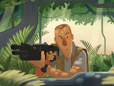 Clever Girl raptor gun jungle dinosaurs digital illustration jurassic park