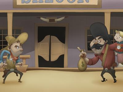 A Standoff wild west cowboy robbery saloon digital illustration childrens book