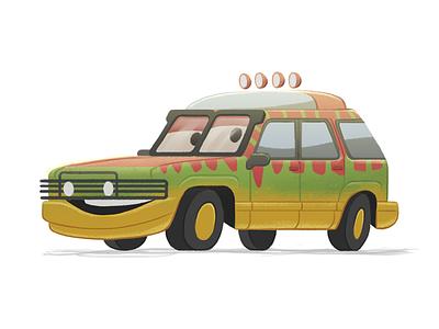 Welcome to... Jurassic Car Park. fun illustration cars jurassic park