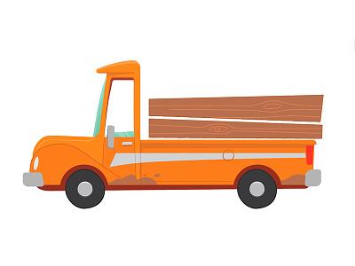 Truck truck truck fun vehicle orange truck illustrator digital illustration