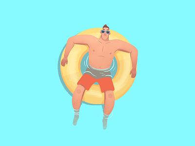 Tuber digital photoshop character design float river summer vacation tubing illustration