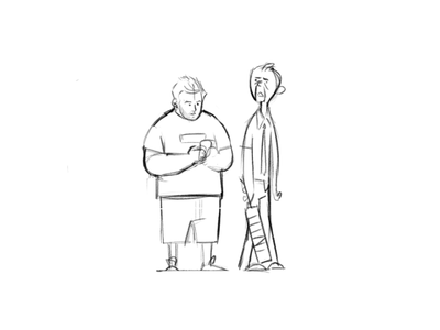 Shaun and Ed black and white drawing sketch fanart shaun of the dead character design illustration