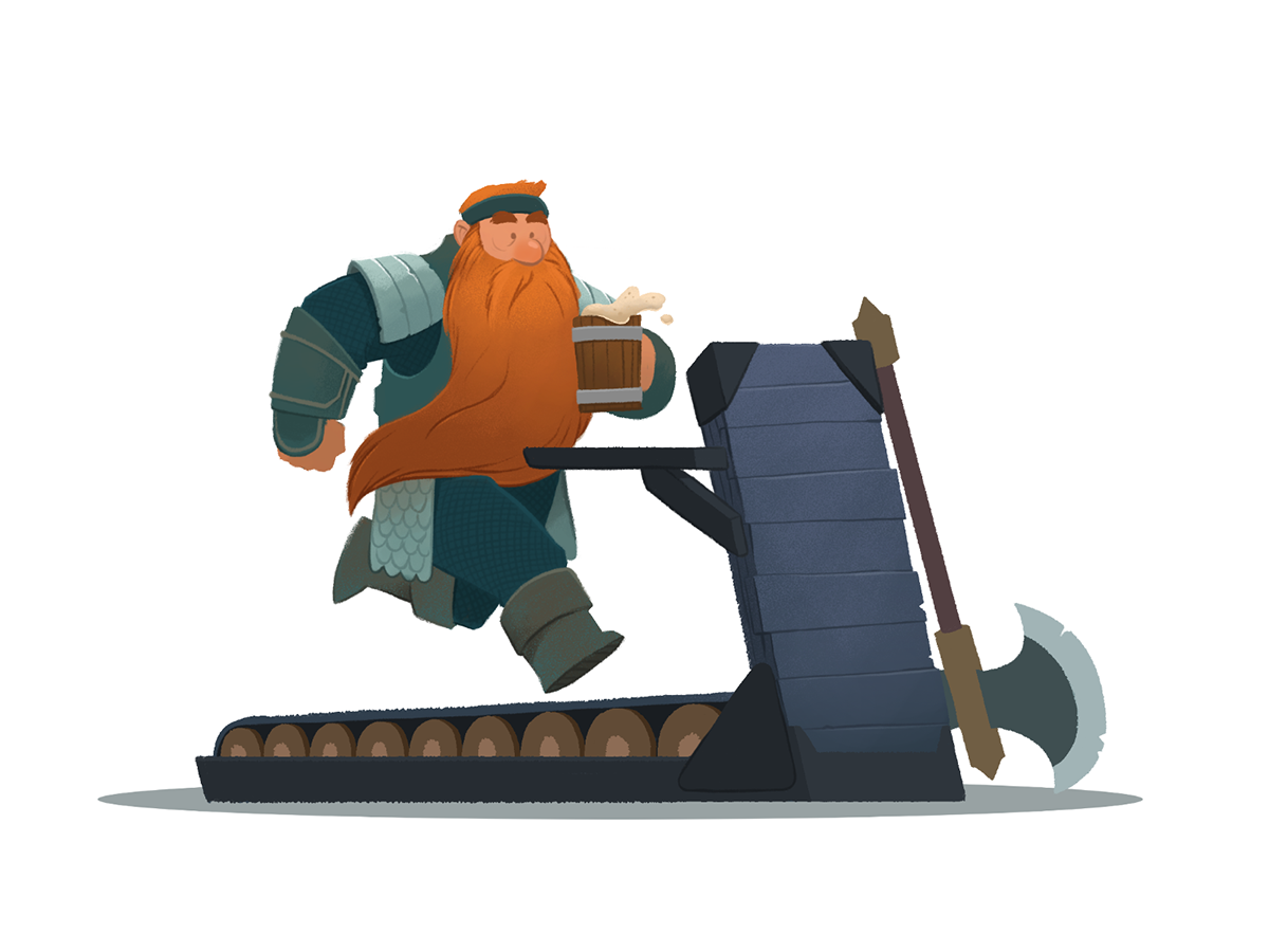 Fantasy Fitness fun fantasy running beer workout treadmill dwarf photoshop digital illustration