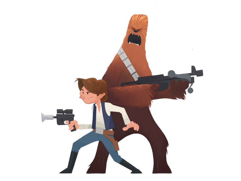Han & Chewie chewbacca hansolo procreate digital star wars character design illustration
