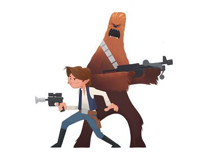 Han & Chewie chewbacca hansolo procreate digital star wars character design illustration