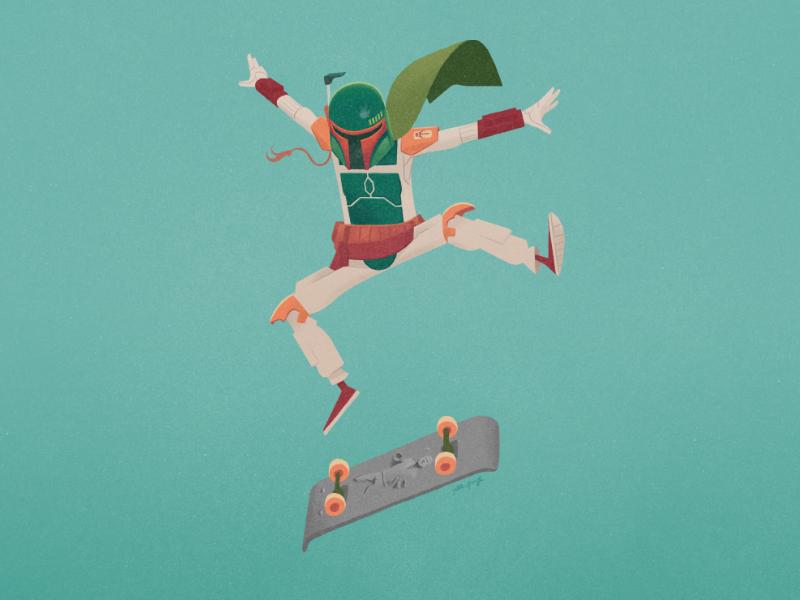 No desintegrations! photoshop kickflip skateboard han solo boba fett starwars art digital illustration