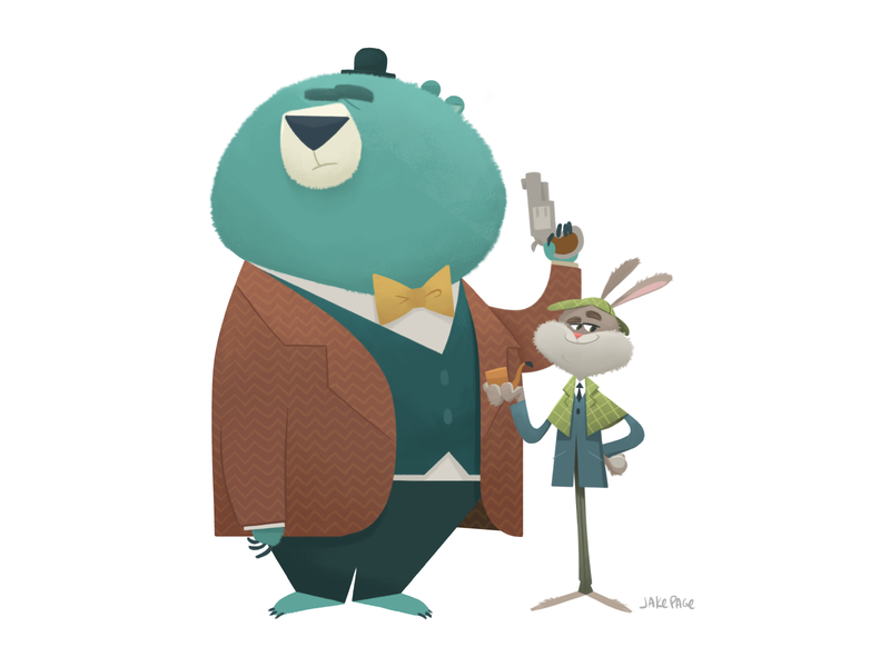 Holmes and Watson character design rabbit bear mystery detective sherlockholmes characters characterdesign photoshop digital art illustration