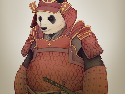 Panda Samurai samurai panda armor sword japan illustration digital