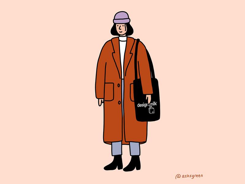 ootd spring fall winter illustration fashion design milk tote bag korean style long coat minimal girl character photoshop illustration