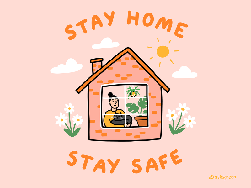 Stay home & stay safe cute design colourful clouds pink and orange sun plants cat scenery houseplants girl covid19 coronavirus stay home illustration house home