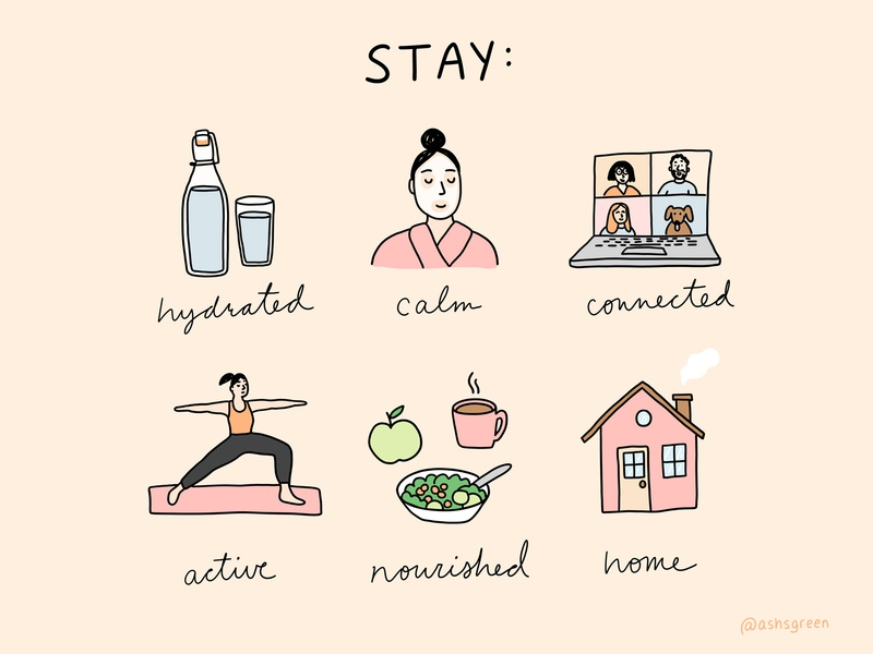 Quarantine Checklist line drawing photoshop covid-19 laptop self care mental health healthy salad house yoga water infographic illustration stay home home quarantine