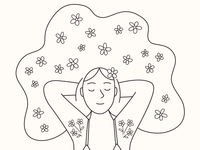 Quarantine Hair - FREE colouring sheet line drawing illustration feel good happy smile relaxing body hair hair girl flowers printable free download coloring page colouring sheet