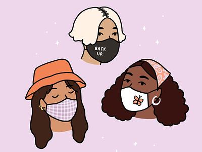Mask-wearing cuties millenials teens trendy fashion illustration bucket hat portraits illustration characters social distancing coronavirus covid-19 face mask