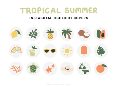 Tropical Summer icons minimal icons flat illustrations vacation icons drinks nature beauty trees plants fruit illustrations icons summer tropical instagram highlights
