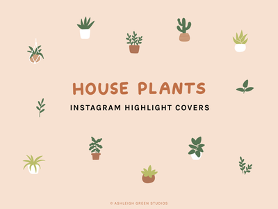 House Plants icon set leaves potted plants hanging plants instagram stories branding influencer marketing minimal icons flat icons plants houseplants social media icons instagram highlights