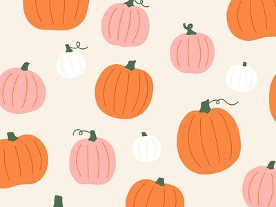 Free pumpkin wallpaper cute whimsical minimal surface design pattern design autumn pattern orange and pink pumpkins fall pattern illustrated pattern illustration