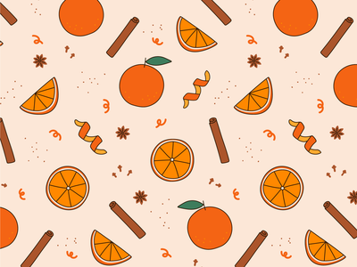 Orange Spice pattern designer illustrator repeat pattern zest star anise spice cinnamon oranges illustrated pattern surface design pattern