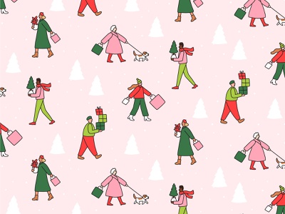 Christmas shoppers illustration snow shopping winter outfits little people gift shopping trees christmas pattern surface design character pattern christmas shoppers pattern design