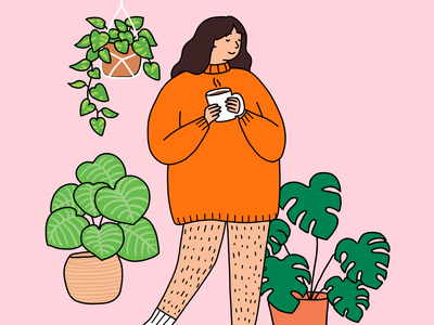 hello spring bright colours illustration girl drawing body positivity hairy legs macrame hanging plants house plants coffee sweater girl