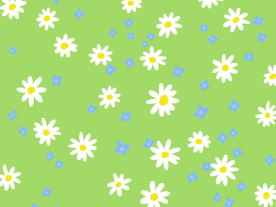 meadow floral print green wildflowers daisies bright colours pattern design illustrated pattern adobe fresco flower pattern spring flowers