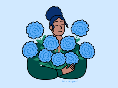 Flower girl character art simple line art cute blue and green vector illustration character illustration girl with flowers flowers