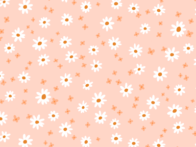 Meadow pattern in peach flower pattern summer print fashion design warm tones peach boho daisies surface pattern designer floral print pattern design