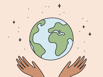 Happy Earth Day! globe eco conscious sustainability no planet b planet zero waste illustration eco earth hands earth day