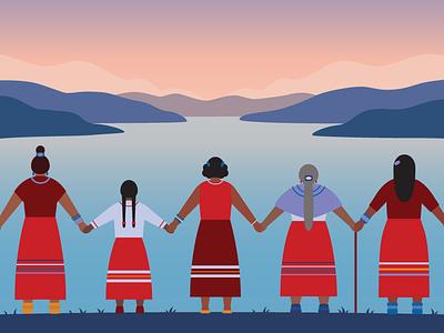 Honouring MMIW emotional sensitive aboriginal okanagan holding hands canadian canada red dress day sunset landscape women indigenous mmiw