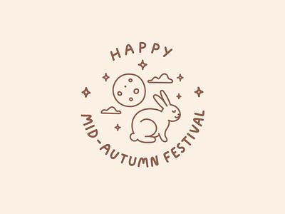 Happy Mid-Autumn Festival chinese holiday moon cake full moon moon rabbit bunny line illustration badge design hong kong mid autumn festival