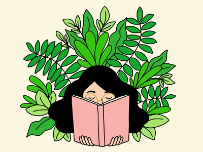 Grow your mind photoshop line drawing glasses book houseplants plants girl reading illustration green 30 days of plants