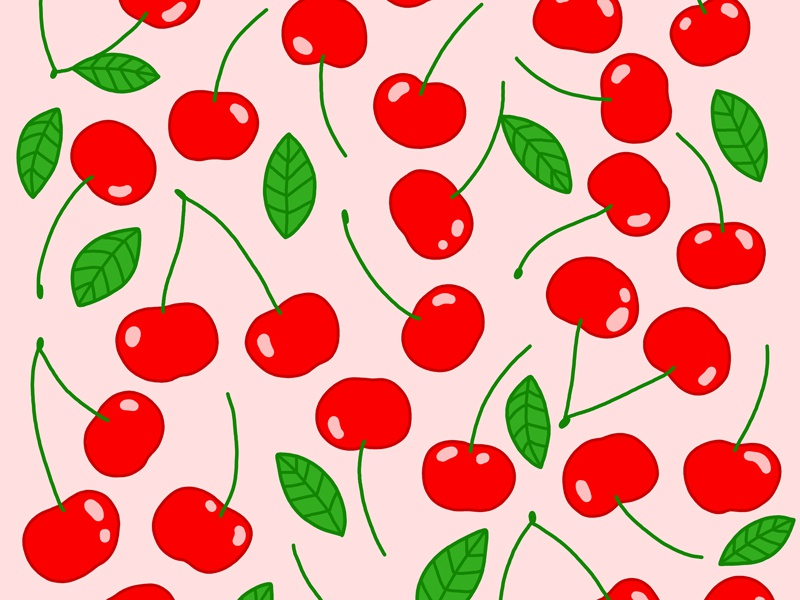 Cherry Pattern repeating pattern photoshop surface book 2 leaves pink red fruit cherries print illustrated pattern pattern