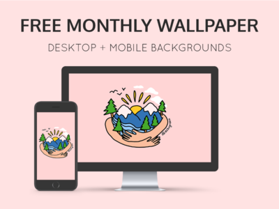September's free wallpaper background design sunset free download psd tree hugger nature pink illustration hug trees british columbia mountains background wallpaper mockup free download