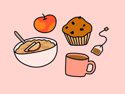 Autumn Breakfast they draw and cook pink photoshop cute tea apple oatmeal muffin food drawing food illustration
