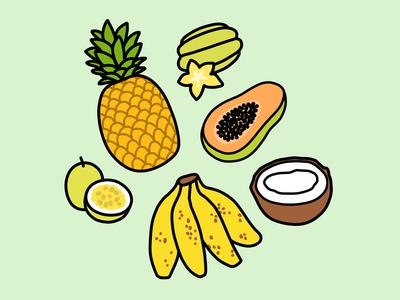 Tropical Hawaiian Fruits