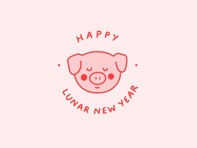 Happy Lunar New Year! chinese culture chinese character surface book 2 photoshop cute simple minimal badge pink and red graphic pig chinese new year