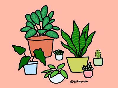 Plant Fam drawing photoshop cc green pots home decor leaves house plants illustration plants
