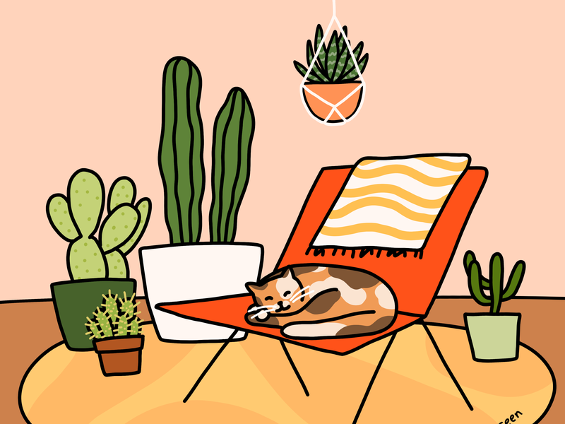 Cozy Home home rug warm orange cat scene cactus chair interior design home decor plants line drawing photoshop illustration