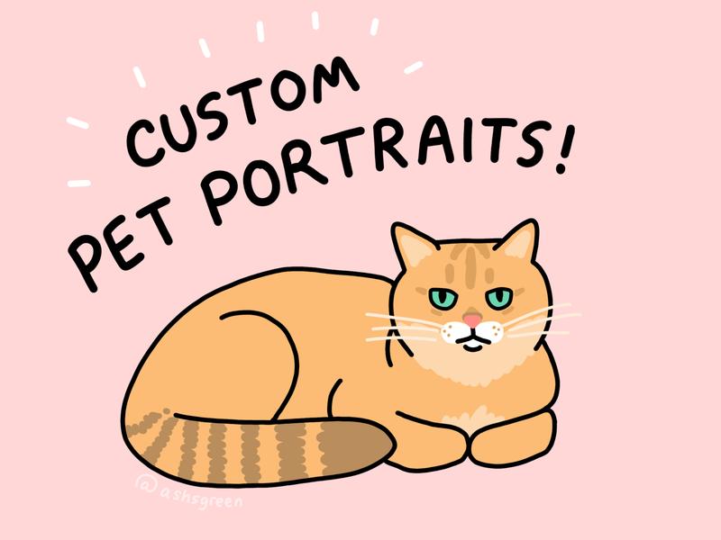 Custom Pet Portraits pet design grumpy cat photoshop digital drawing custom portrait etsy dog cat illustration drawing pet portrait