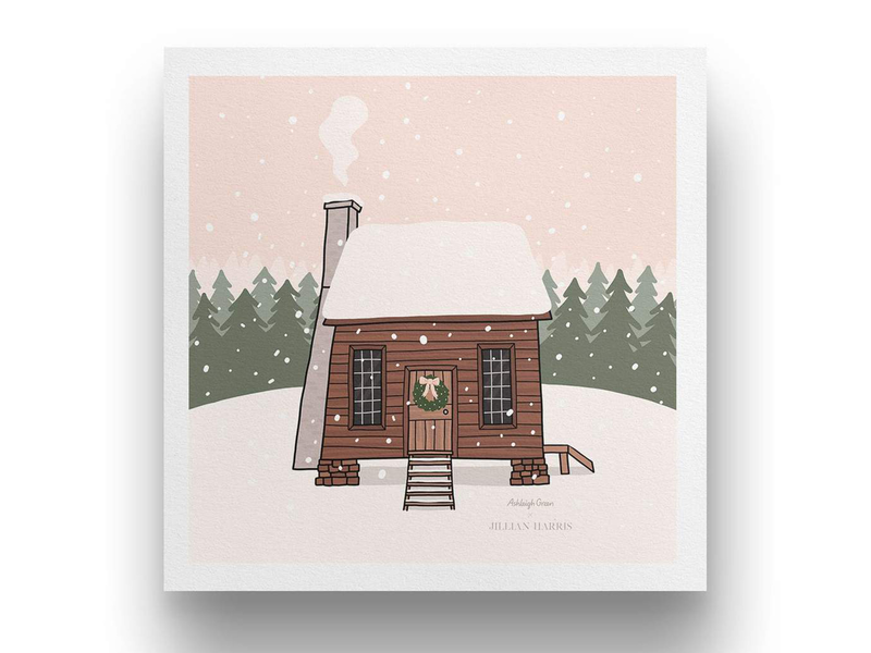 Jillian Harris collab subscription box drawing illustration kelowna okanagan winter art digital download print cozy winter scene smoke log cabin wood trees dusk snow cabin in the woods snowy forest cabin jillian harris