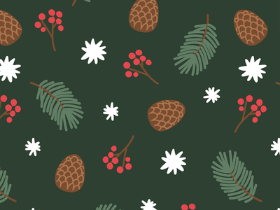 Free wallpaper free download phone wallpaper mobile background seamless print handdrawn pattern the woods green stars holiday nature forest pinecone snow berries pine illustration pattern winter