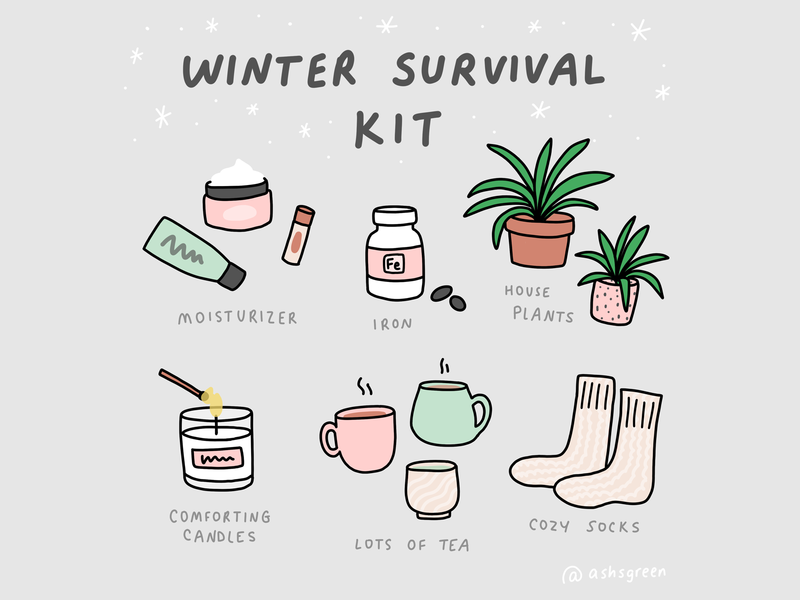 Winter Self Care icons set hygge cozy tea cups graphics winter design infographic kit tips self care iron pills winter survival kit candle socks plants beauty tea illustration icons